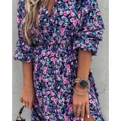 Flower midi dress navy...