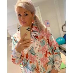blouse bloemenprint met strik