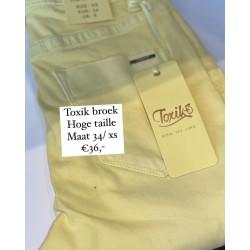 Broek toxik hoge taille geel